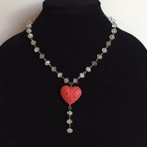 Jewelry - Carved heart on Smokey quartz chain